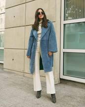 coat,long coat,faux fur coat,wide-leg pants,pants,ankle boots,sweater,sunglasses