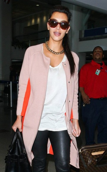 color block jacket oversized cardigan kim kardashian orange peach sweater pretty hot