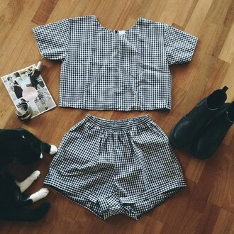 gingham crop tops high waisted shorts cats plaid shorts