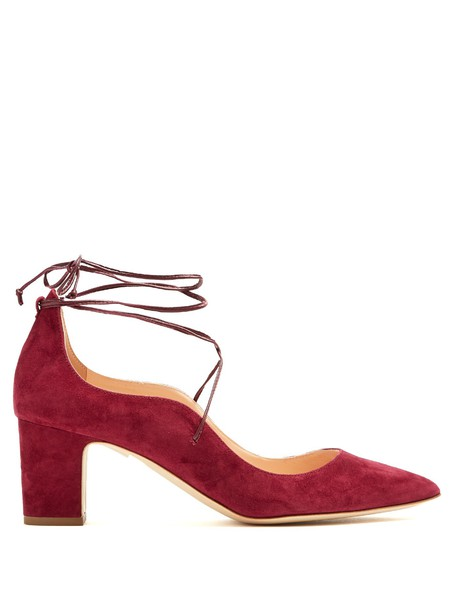 Rupert Sanderson suede pumps pumps suede burgundy shoes