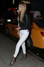 jeans,white jeans,gigi hadid,sandals,jacket,biker jacket,shoes