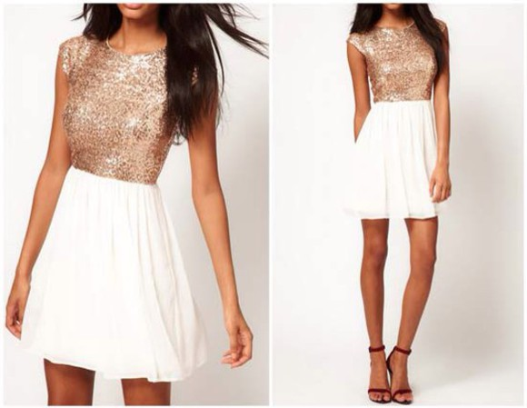 dress gold white dress white glitter dress gold dress white and gold dress cute dress pretty dress glitter
