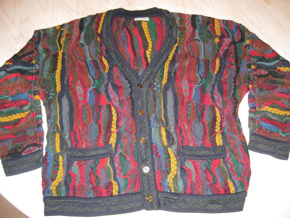 Nice Thick Vtg Coogi Australia Textured Cardigan 3D Sweater Mens L XL RARE | eBay