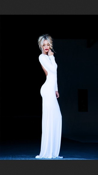 dress white dress white long sleeve long sleeve dress long dress formal dress formal dresses backless dress backless backless white dress tight