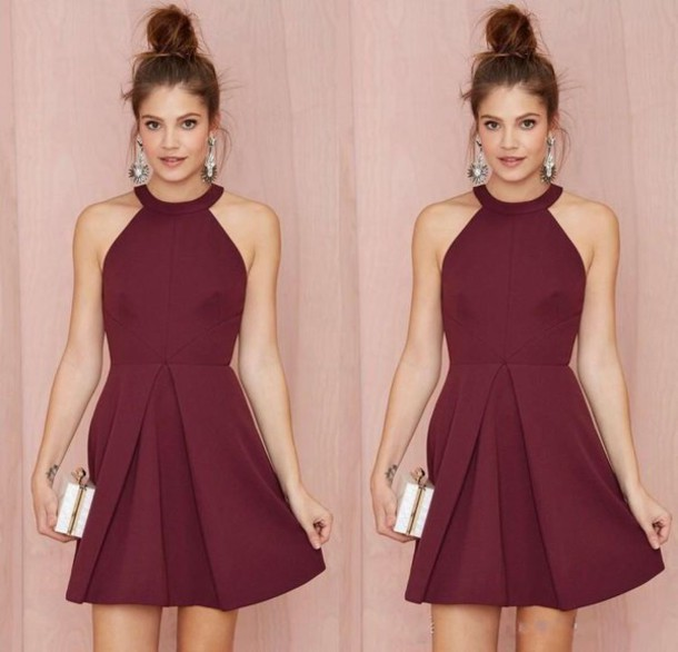 Dress: halter dress, short dress, burgundy dress, cocktail dress ...