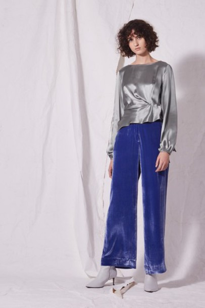 Topshop blouse silver satin top