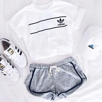shirt adidas white outfit grey shorts adidas superstars cap t-shirt cute sporty