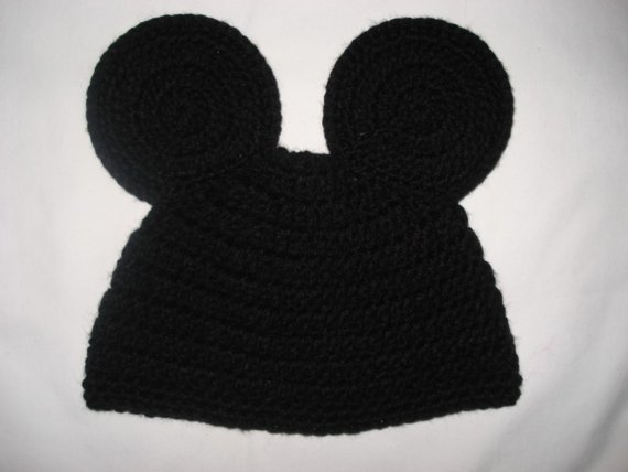 Custom crochet Mickey Mouse ears beanie hat by BellaRayneDesigns