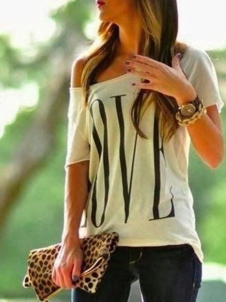 t-shirt w&b jewels shirt where to get this shirt? where to get this bag? bag cheetah clutch off the shoulder shoes blouse jeans love t shirt white black black t-shirt white t-shirt white top black top love quotes style streetwear streetstyle vday look off the shoulder shirt top white loose letter print short sleeve t-shirt casual girl's like summer sweater one shoulder love print short sleeve girl women clothes printed t-shirt holidays daily style back to school letter t-shirts