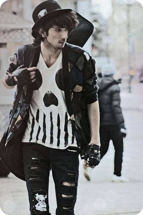 Goth guys menswear rock skull t-shirt grunge menswear jacket gloves jeans shirt black ...