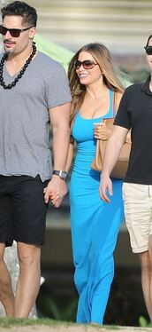 dress,maxi dress,blue,sofia vergara