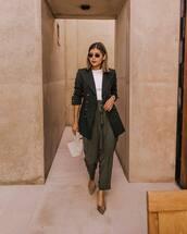 jacket,blazer,military style,wide-leg pants,high waisted pants,pumps,leopard print,white blouse,round sunglasses,handbag