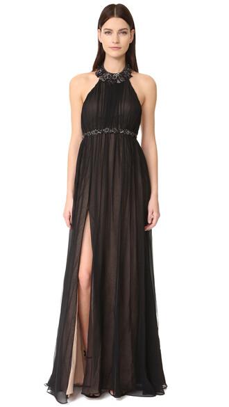 gown chiffon black dress