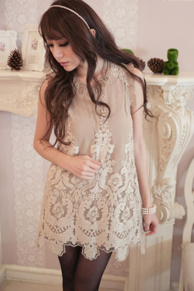 embroidered dress lace dress beige dress scalloped dress scalloped