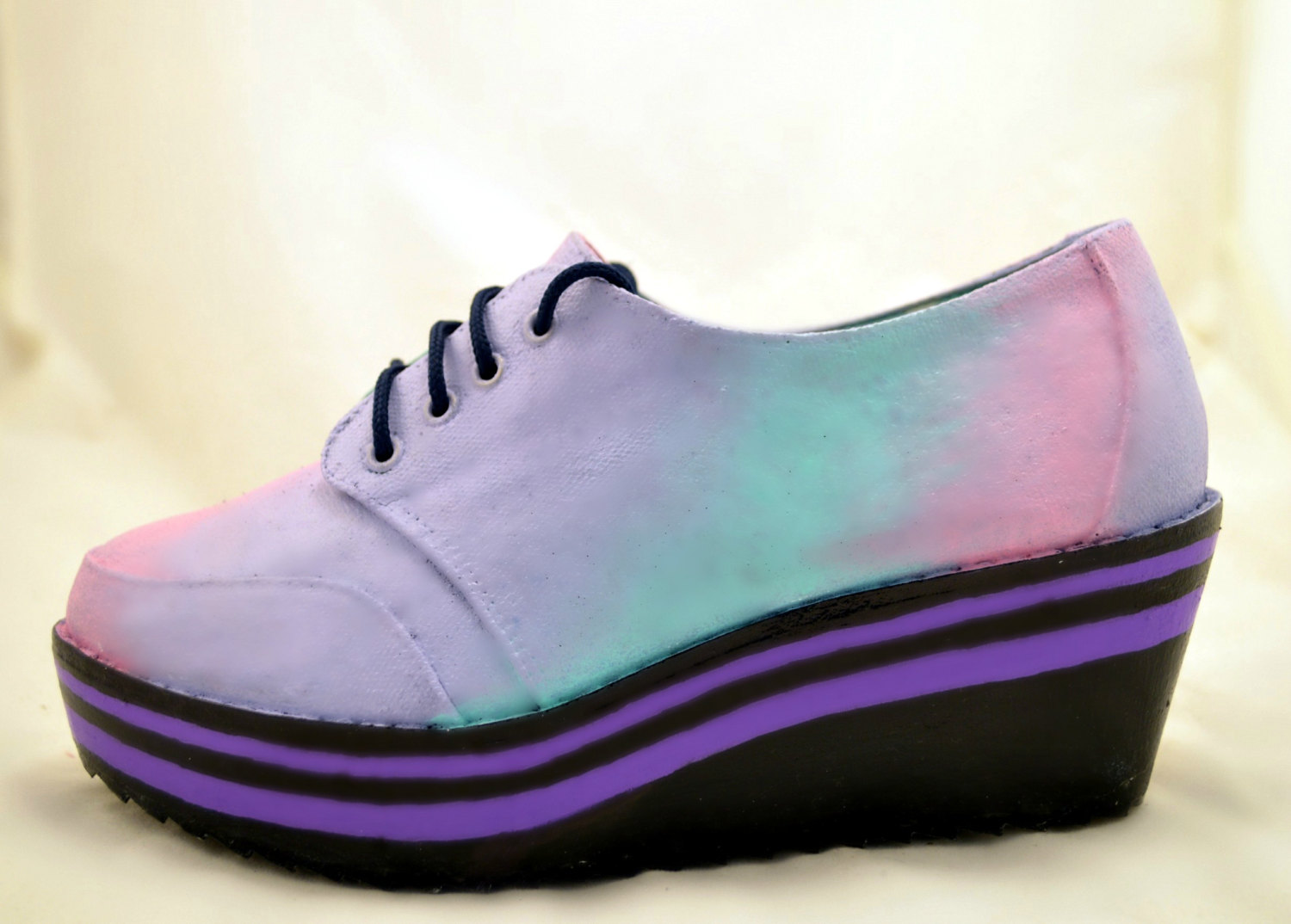 Pastel goth kawaii flatforms wedges hand painted custom made preorder