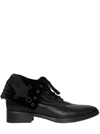 embroidered boots leather black shoes