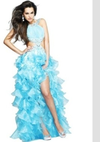 dress prom dress sherri hill blue prom dress cut-out dress