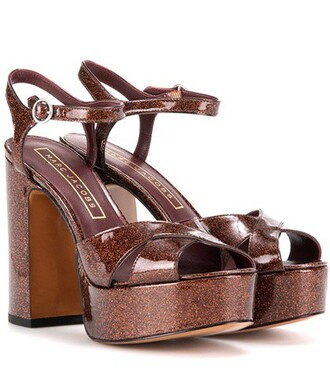 glitter sandals platform sandals leather brown shoes