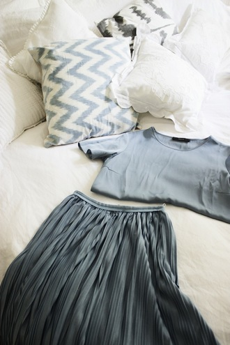 by vh blogger jacket pillow chevron grey blue pleated skirt classy wishlist