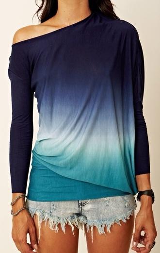 top ombré ombre top off the shoulder sweater tank top