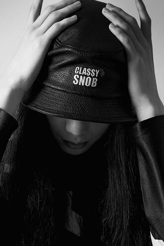 classy snob bob bucket hat black hat