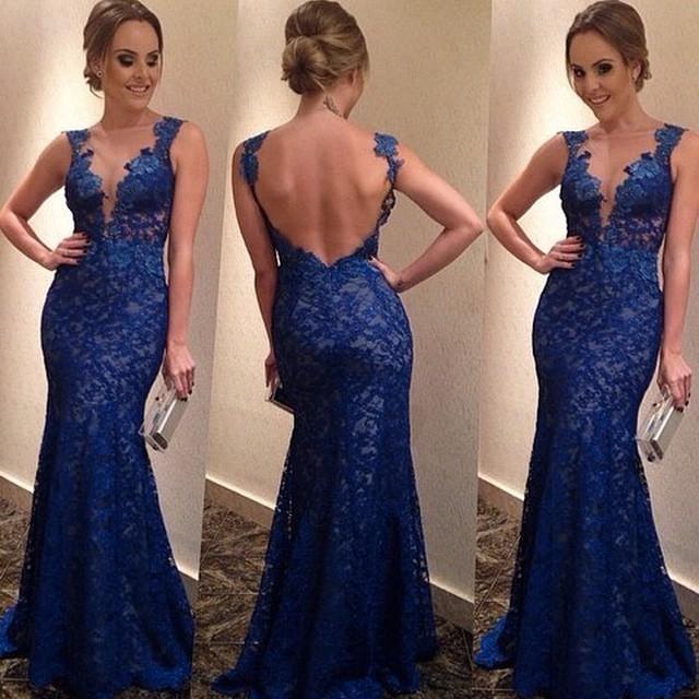 Cute blue lace long dress
