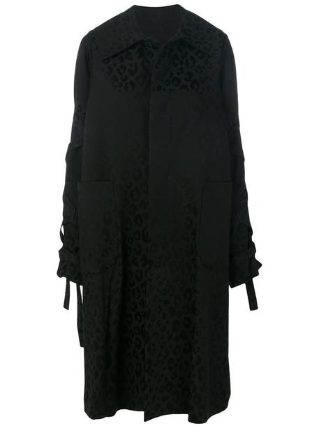 COMME DES GARÇONS NOIR KEI NINOMIYA coat leopard print coat women print black wool leopard print