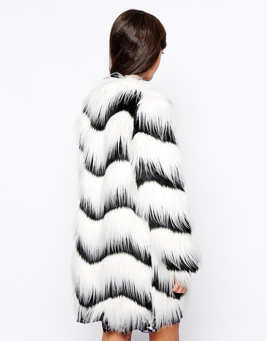 Glamorous Contrast Faux Fur Coat at asos.com