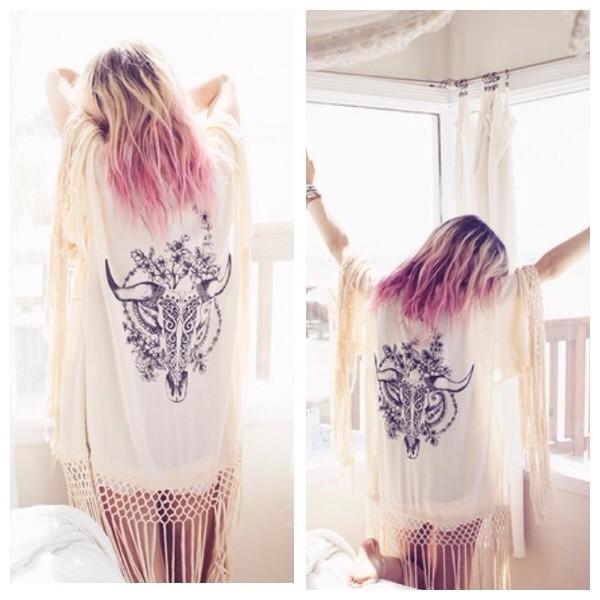 sweater kimono pretty fashion beach white