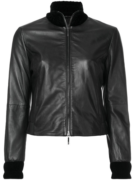 ARMANI JEANS jacket zip high women spandex black