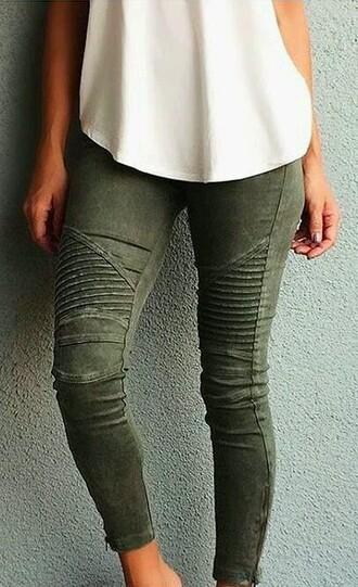 pants khaki pants skinny pants army green green skinny jeans ribbed