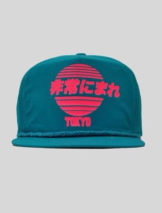 hat tokyo snapback snapback cap turqouise turquoise