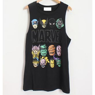 it girl shop hipster muscle tee superheroes cool indie hippie tank top black fashion style trendy marvel streetwear