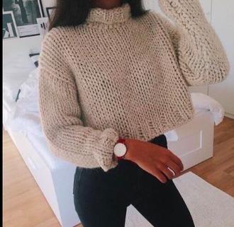 sweater cream turtleneck tumblr knitted sweater