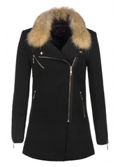 coat,fall coat,chic,noir,long,fourrure amovible,manteau,manteau laine,coat autumn,fourrure