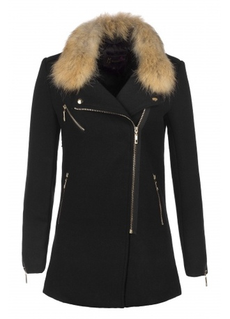 coat fall coat chic noir long fourrure amovible manteau manteau laine coat autumn fourrure