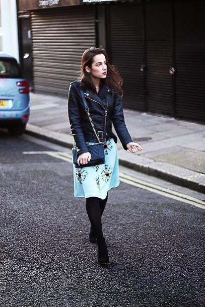 amoureuse de mode blogger skirt black jacket aqua