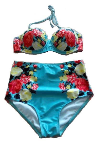 High waist floral bikini