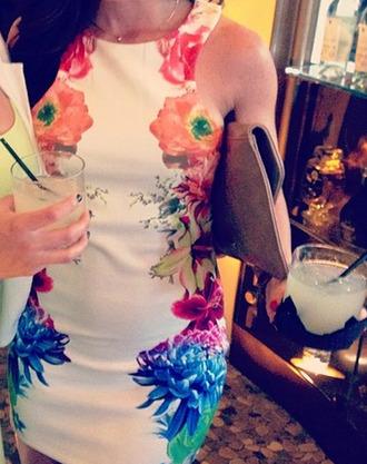 dress floral rainbow rainbow dress floral dress white dress high neck dress mock neck bodycon bodycon dress high neckline