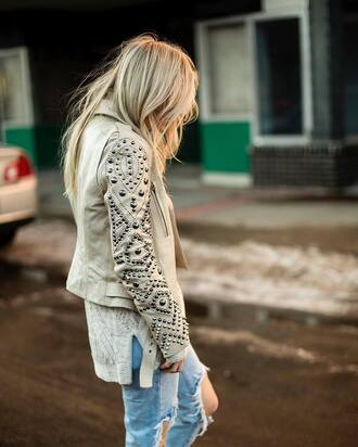jacket tumblr white jacket leather jacket embellished embellished jacket studded jacket studs studded sweater white sweater denim jeans blue jeans ripped jeans