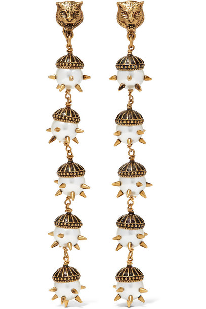 5543808da Gucci Gold-Plated Faux Pearl Clip Earrings - Wheretoget