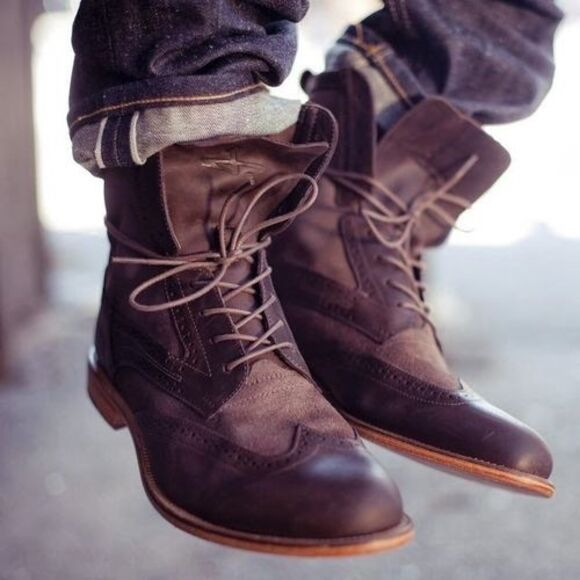 mens shoes menswear boots wingtip distressed