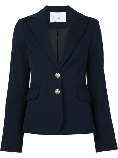 DEREK LAM 10 CROSBY blazer women fit cotton blue jacket