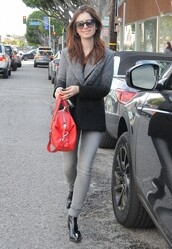 jeans,jacket,blazer,fall outfits,boots,lily collins,purse
