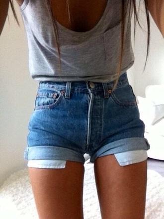 shorts high waisted shorts high waisted denim shorts form-fitting shirt