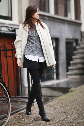 jewels blogger style scrapbook off-white grey sweater knee high boots