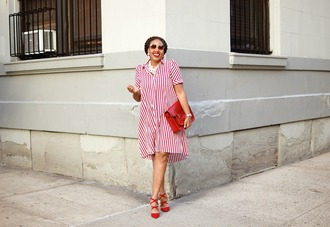 closetconfections blogger dress shoes jewels bag fall outfits striped dress red bag red heels