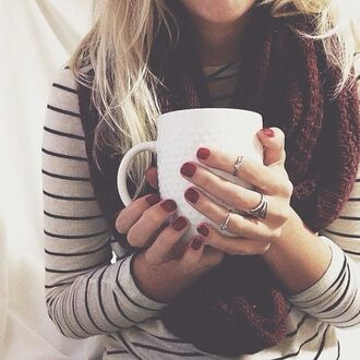 shirt stripes scarf coffee ring black and white colorful marroon fall outfits fall colors striped top long sleeves