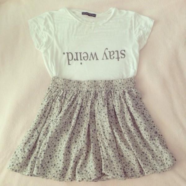 shirt t-shirt whiteshirt floral skirt t-shirt