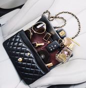 bag,tumblr,black bag,chanel,juicy couture,sunglasses,lipstick,tom ford,quilted bag